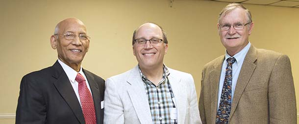 From left, Vijay Singh, 2016 Sigma Xi Outstanding Distinguished Scientist; Robert Chapkin, Sigma Xi chapter president; and Larry Johnson, chair of Sigma Xi Outstanding Teacher Awards Committee